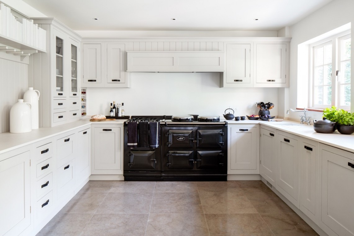 Kitchen With Shaker Cupboards and Black AGA
