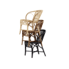 Wengler Polished Black Natural and Antique Stack of Wicker Chairs