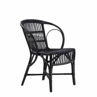Wengler Polished Black Wicker Chair