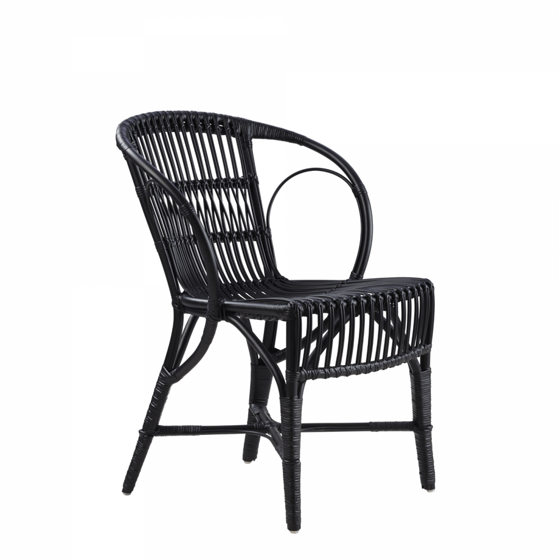 Wengler Polished Black Wicker Chair